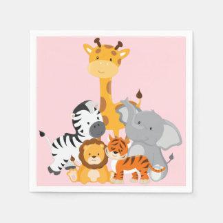 Rosa niedliches Dschungel-Baby-Tierpapierwindeln Serviette