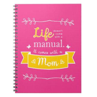 Rosa Notizbuch für Mamma mit Zitat Spiral Notizblock