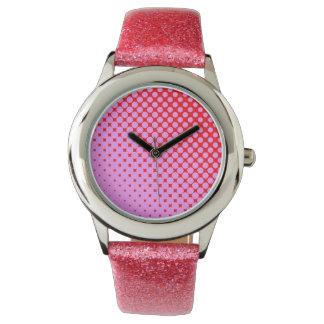 Rosa oder roter Glitter Armbanduhr