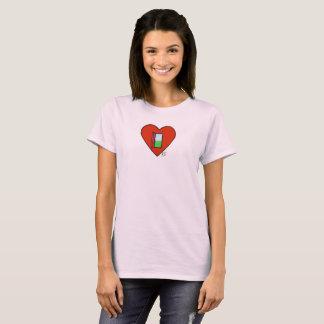 Rosa-offenes Herz-Shirt T-Shirt