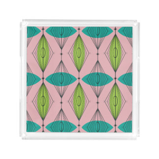 Rosa Ogee u. Sternexplosion-kleiner quadratischer Acryl Tablett