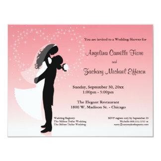 Rosa Ombre Silhouette-formale Duschen-Einladung 10,8 X 14 Cm Einladungskarte