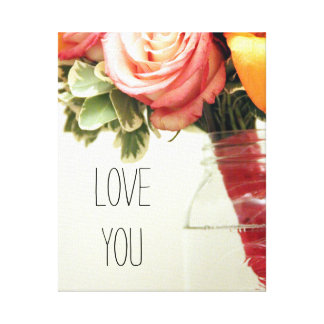 rosa orange Hochzeits-Blumen-Rose fertigen Leinwanddruck