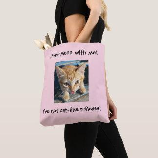 """Rosa orange Katze """"verwirren nicht mit mir!"""" Tasche"""