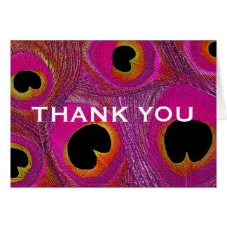 Rosa orange lila Pfau-Feder danken Ihnen zu Karte