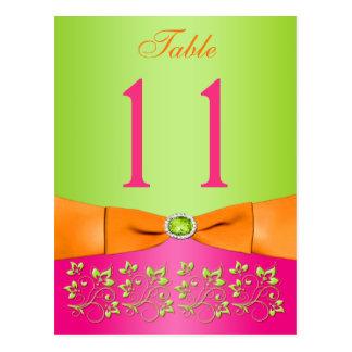 Rosa, orange, Limone BlumenTischnummer-Postkarte Postkarten
