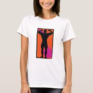 Rosa orange Silhouette des starken Mannes T-Shirt