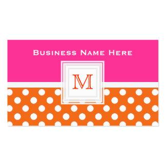 Rosa orange weißer Punkt: Monogramm-Visitenkarte Visitenkarten