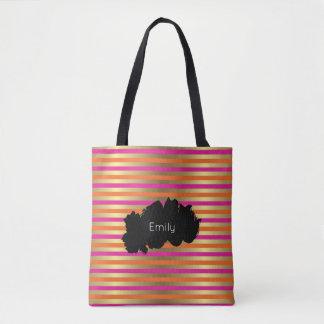 Rosa-, Orangen-u. Imitat-metallische Goldstreifen Tasche
