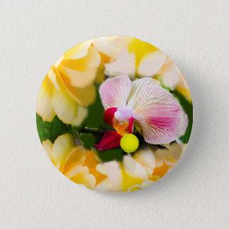 Rosa Orchidee mit Tennisball Runder Button 5,1 Cm