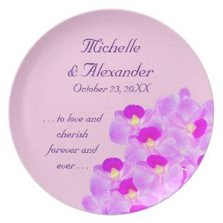 Rosa Orchideen-Blumenstrauß Teller