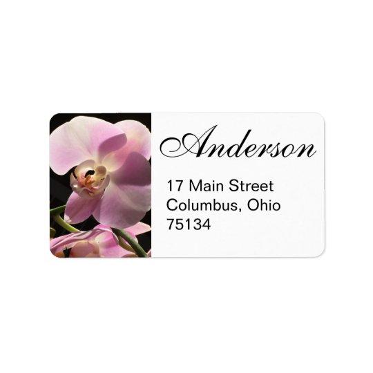Rosa Orchideen-Rücksendeadressen-Aufkleber Adressaufkleber