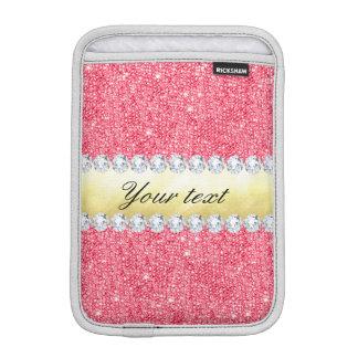 Rosa Paillette-Goldfolie und -diamanten Sleeve Für iPad Mini