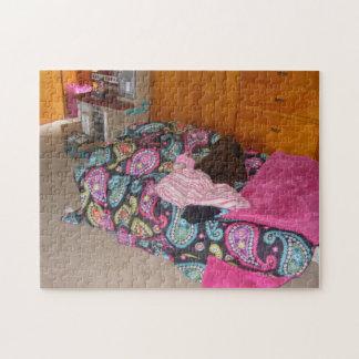 Rosa Paisley-Bett-Puzzlespiel Puzzle