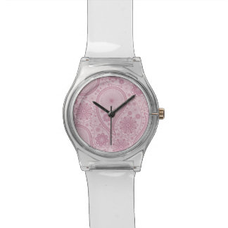 Rosa Paisley-Muster Armbanduhr