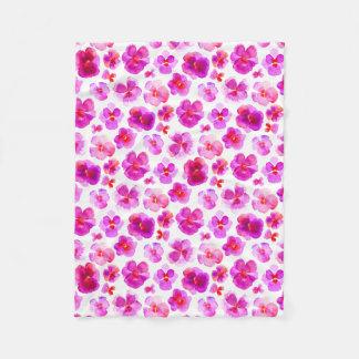 Rosa Pansy-Blume Watercolor-Kunstdecke Fleecedecke
