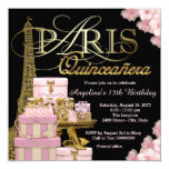 Rosa Paris Quinceanera Quadratische 13,3 Cm Einladungskarte