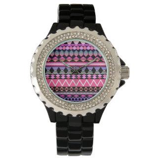 Rosa Party-Azteke-Muster Armbanduhr