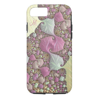 Rosa PastellsahneFraktal-Monogramm iPhone Kasten iPhone 8/7 Hülle