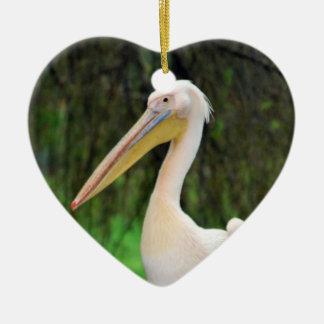 Rosa Pelikanvogel mit dem langen Schnabel Keramik Ornament