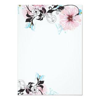 Rosa peonie und blaue Schmetterling Einladung