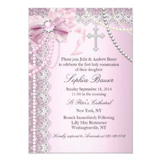 Rosa Perlen-Bogen-Kreuz-heilige Kommunion oder 12,7 X 17,8 Cm Einladungskarte