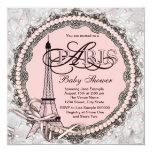 Rosa perlt rosa Paris-Babyparty Einladungskarte