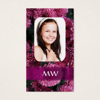 Rosa personalisiertes mit BlumenFoto Visitenkarte