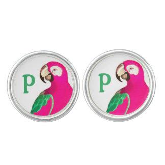 Rosa Petey Papageien-Gewohnheits-Manschettenknöpfe Manschetten Knöpfe