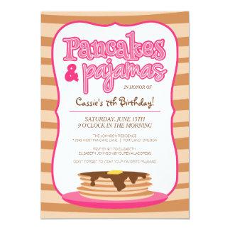 Rosa Pfannkuchen-und Pyjama-Geburtstags-Party 12,7 X 17,8 Cm Einladungskarte