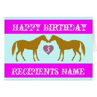Rosa Pferdealters-Geburtstags-Karte - Karte