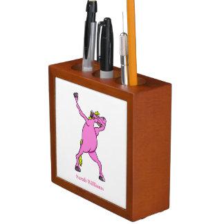 Rosa Pferdebetupfen Stifthalter