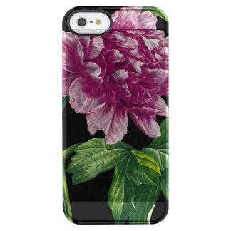 Rosa Pfingstrose auf schwarzem Chic Durchsichtige iPhone SE/5/5s Hülle