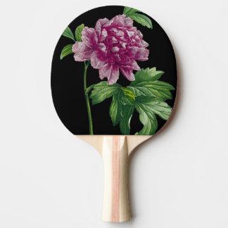 Rosa Pfingstrose auf schwarzem Chic Tischtennis Schläger