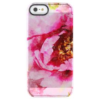Rosa Pfingstrosen-Aquarell-Kunst Durchsichtige iPhone SE/5/5s Hülle