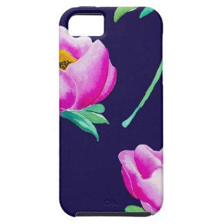 Rosa Pfingstrosen auf Marine iPhone 5 Etui