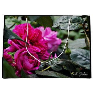 Rosa Pfingstrosen-Blumen-Geschenktasche Große Geschenktüte