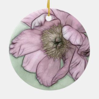 Rosa Pfingstrosen-Blumen-Skizze Keramik Ornament