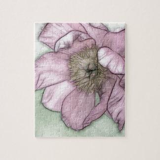 Rosa Pfingstrosen-Blumen-Skizze Puzzle