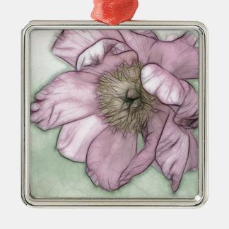 Rosa Pfingstrosen-Blumen-Skizze Quadratisches Silberfarbenes Ornament