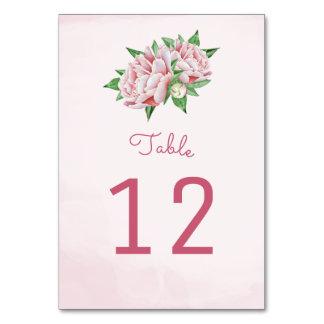 Rosa Pfingstrosen-Blumen-Tischnummer-Karten Karte