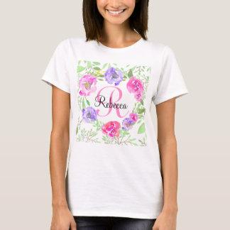 Rosa Pfingstrosen-BlumenAquarell-Monogramm T-Shirt