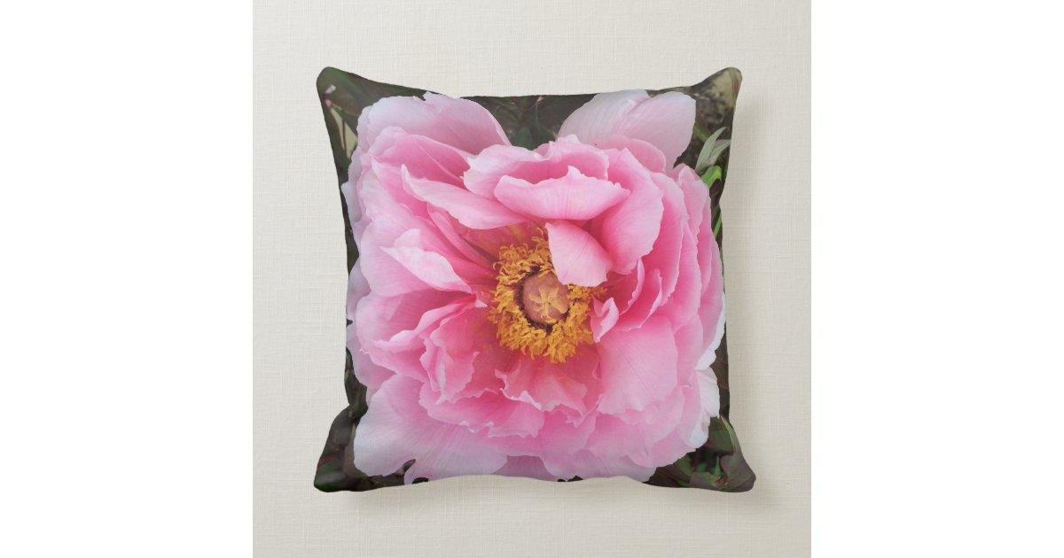 rosa pfingstrosen garten blumen kissen kissen zazzle. Black Bedroom Furniture Sets. Home Design Ideas