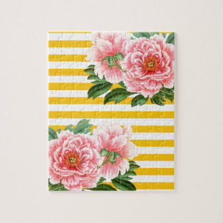 Rosa Pfingstrosen-gelbe Streifen Puzzle