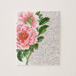 Rosa Pfingstrosen-Kalligraphie Puzzle