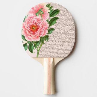 Rosa Pfingstrosen-Kalligraphie Tischtennis Schläger