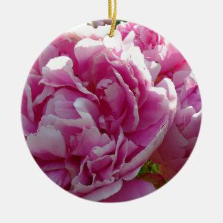 Rosa Pfingstrosen Keramik Ornament