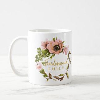 Rosa Pfingstrosen-Kranz-Brautjungfern-Name ID456 Kaffeetasse
