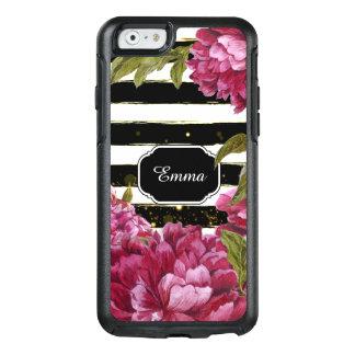 Rosa Pfingstrosen-Schwarz-weißer mit OtterBox iPhone 6/6s Hülle