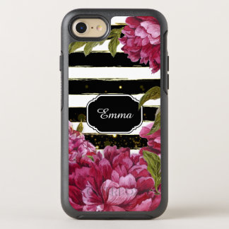 Rosa Pfingstrosen-Schwarz-weißer mit OtterBox Symmetry iPhone 7 Hülle